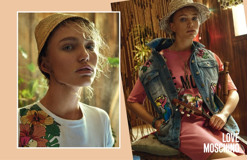 Kim van der Laan stars in Love Moschino's spring-summer 2018 campaign