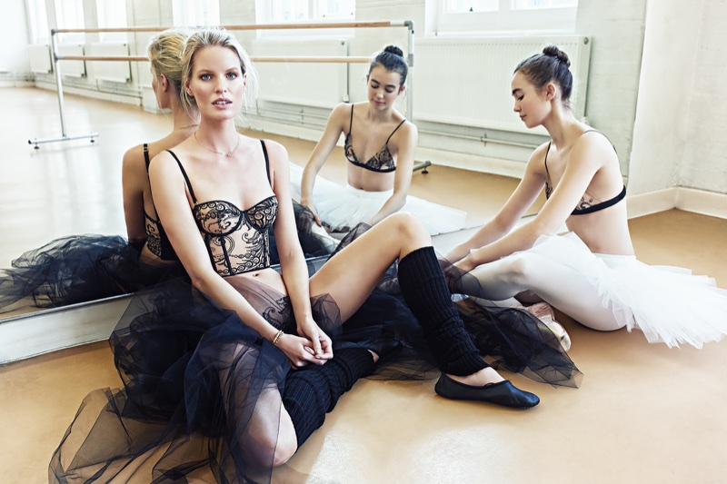Model Caroline Winberg poses with ballerinas for Luna Mae London's spring-summer 2018 Bespoke campaign