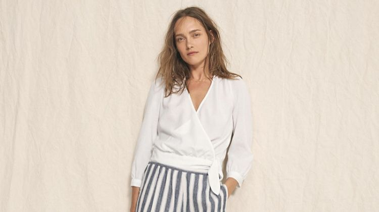 Madewell Wrap Top in Eyelet White, Huston Pull-On Crop Pants in Stripe and The Boardwalk Crossover Sandal