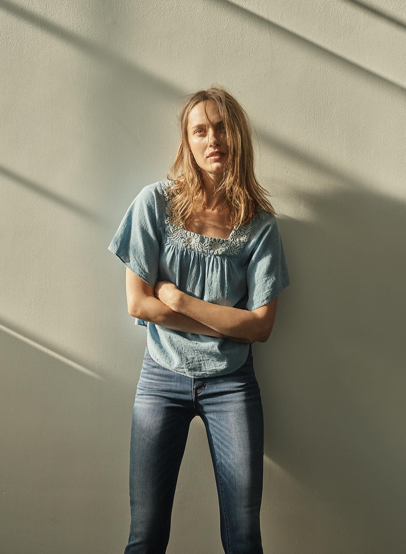 109069f4547d9 ... Madewell Embroidered Denim Butterfly Top and Cali Demi-Boot Jeans in  Danny Wash