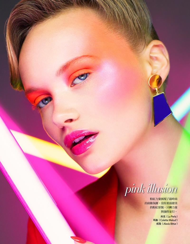 Mae Van Der Weide Models Neon Beauty for Vogue Taiwan