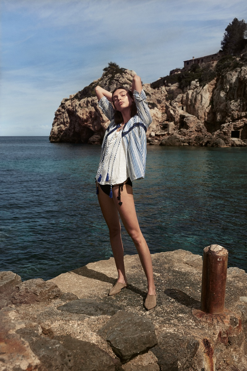 Charlee Fraser poses in Deià, Mallorca for Mango High Summer 2018 campaign