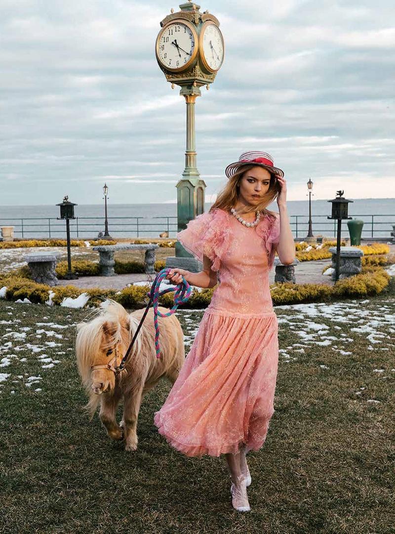 Martha Hunt Poses in Romantic Dresses for V Magazine