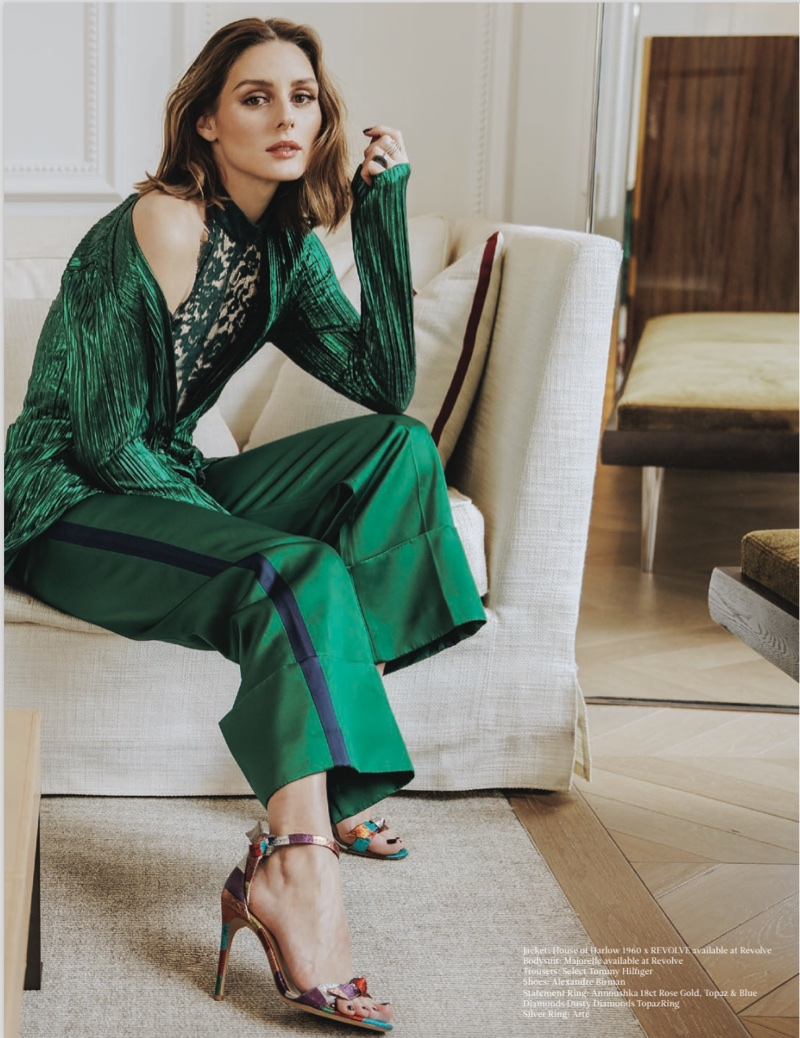 Dressed in green, Olivia Palermo wears House of Harlow 1960 x REVOLVE jacket, Tommy Hilfiger trousers and Alexandre Birman heels