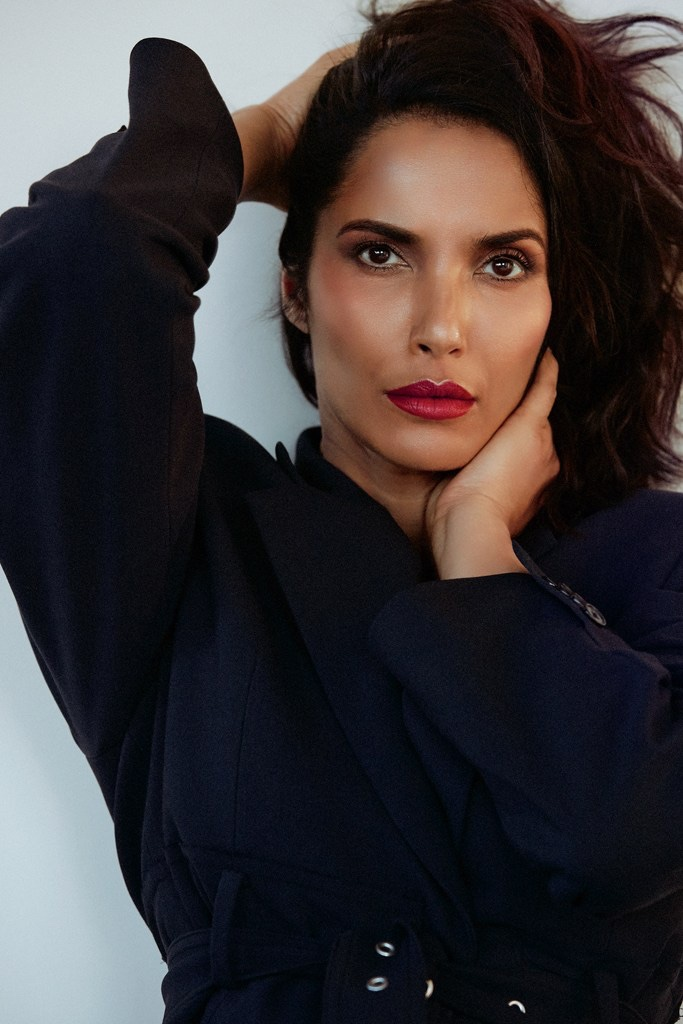 Wearing a vibrant red lipstick shade, Padma Lakshmi stuns in this shot