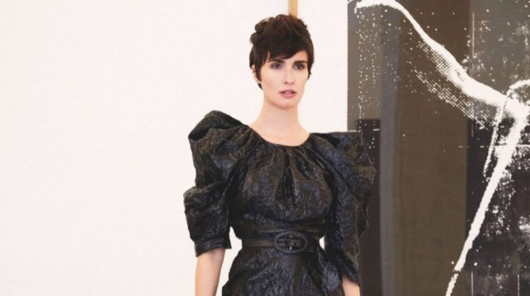 Dressed in black, Paz Vega wears Carmen March dress with Gianvito Rossi sandals