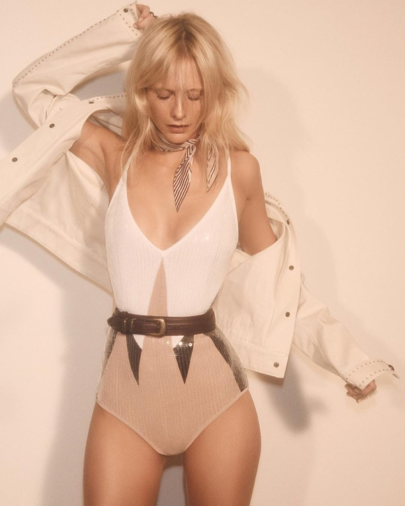 Poppy Delevingne wears Bottega Veneta jacket and sequin bodysuit