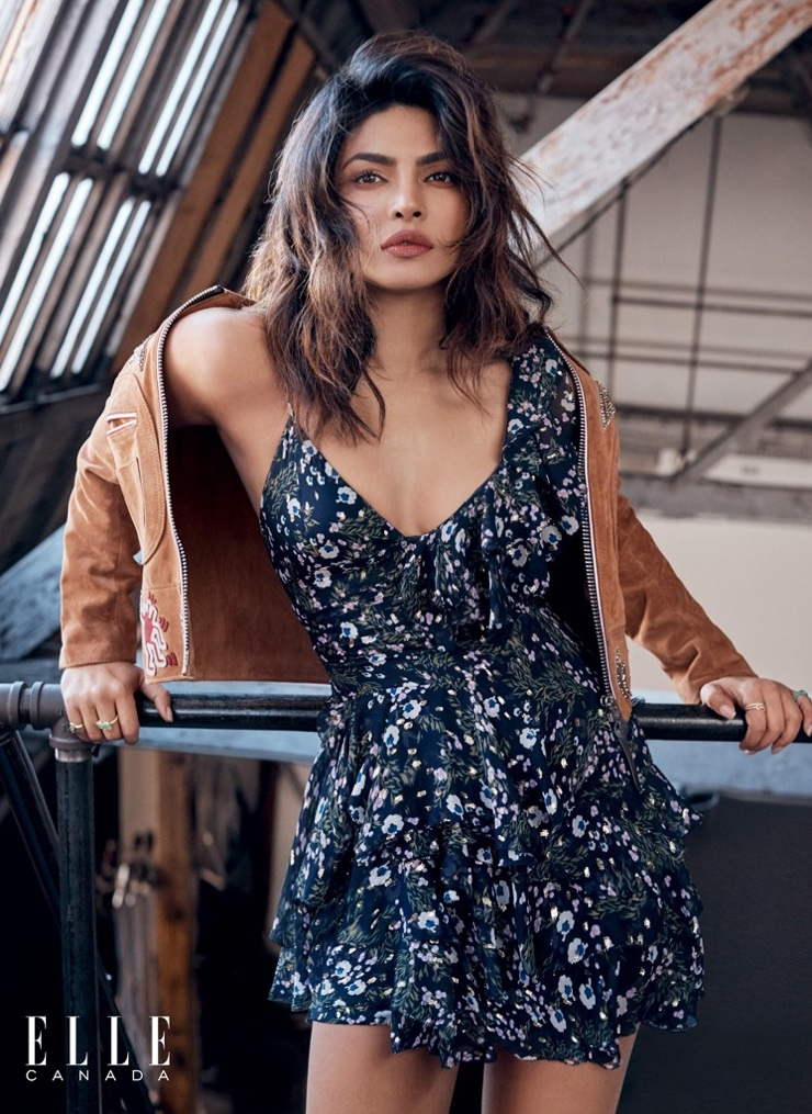 Wearing florals, Priyanka Chopra poses in Isabel Marant dress and Coach suede jacket