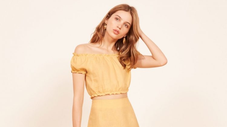 Reformation Lakely Top $98 and Kash Skirt in Buttercup $78