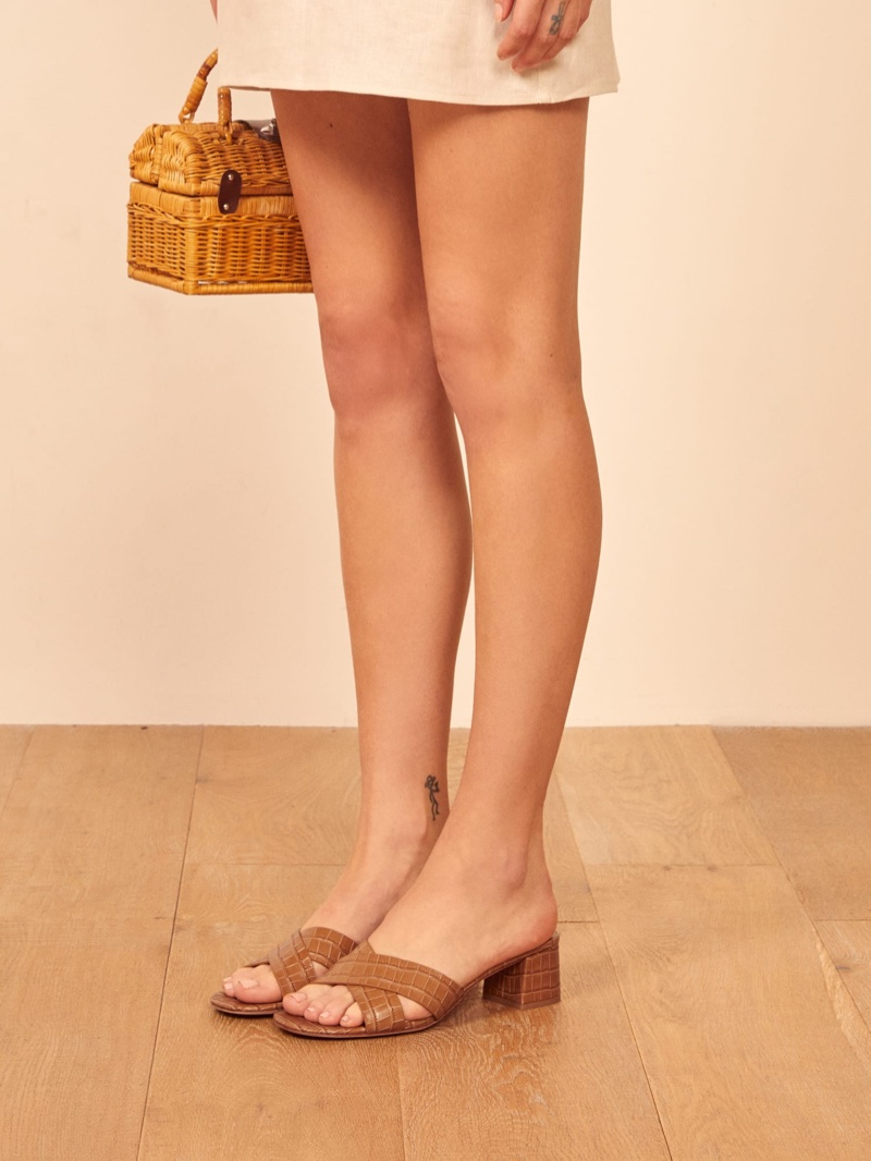 Reformation Mina Sandal in Tan Croc Effect $198
