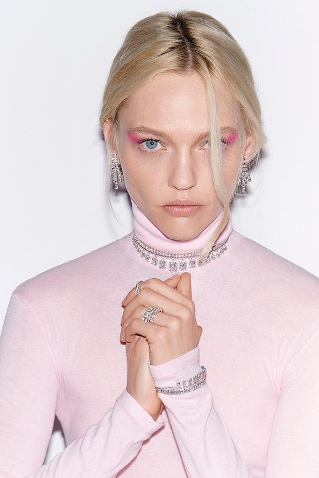 Sasha Pivovarova looks pretty in pink for jewelry brand Messika
