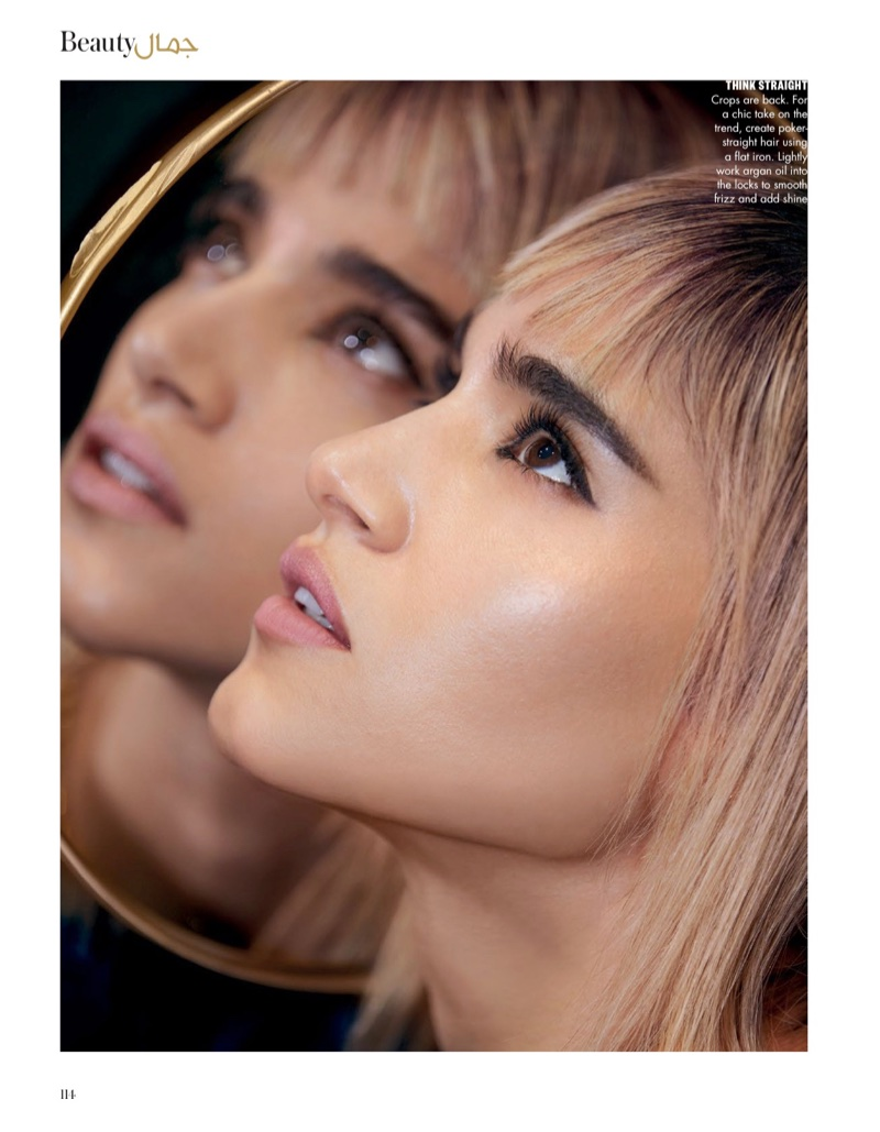 Actress Sofia Boutella wears a hairstyle with blunt bangs