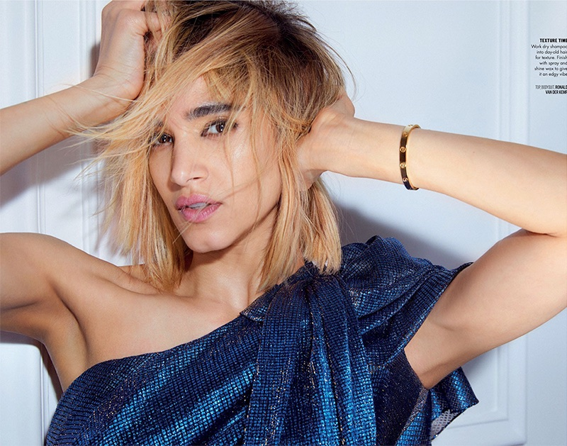Actress Sofia Boutella wears Ronald van der Kemp top and bodysuit
