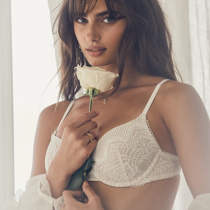 Taylor Hill wears Victoria's Secret bridal lingerie
