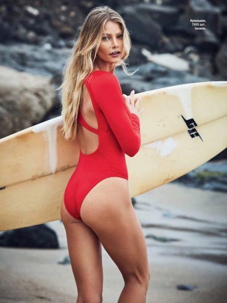 Tori Praver Models Chic Swimwear Styles for Glamour Russia