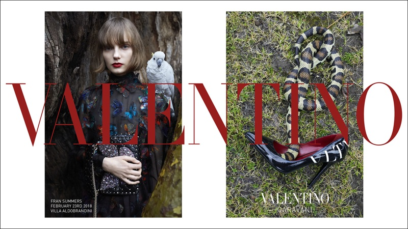 Model Fran Summers appears in Valentino's pre-fall 2018 campaign