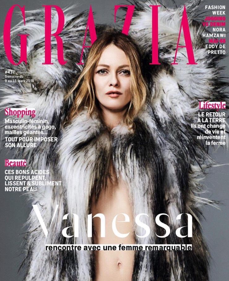 Vanessa Paradis on Grazia France March 9, 2018 Cover
