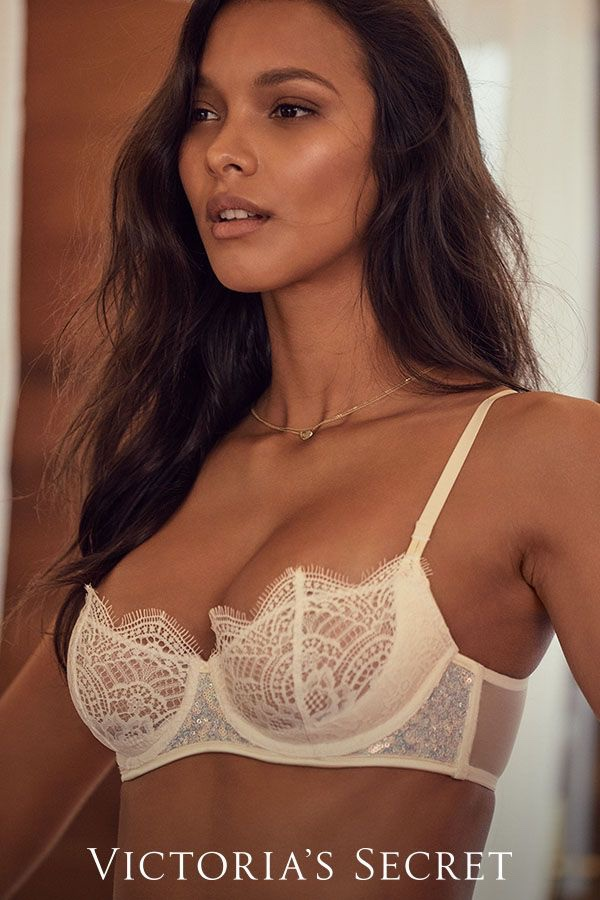 Lais Ribeiro models lace bra from Victoria's Secret bridal lingerie collection