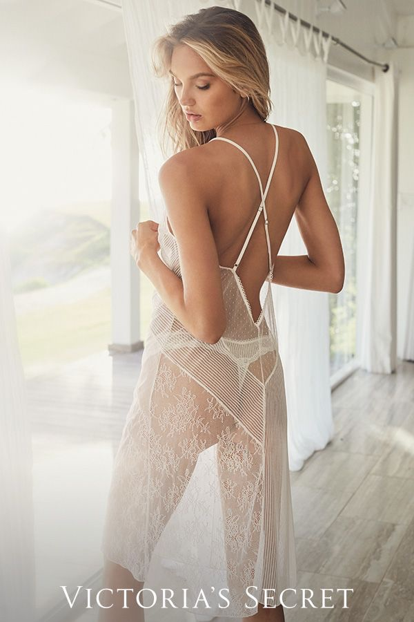 Going sheer, Romee Strijd poses in Victoria's Secret bridal lingerie