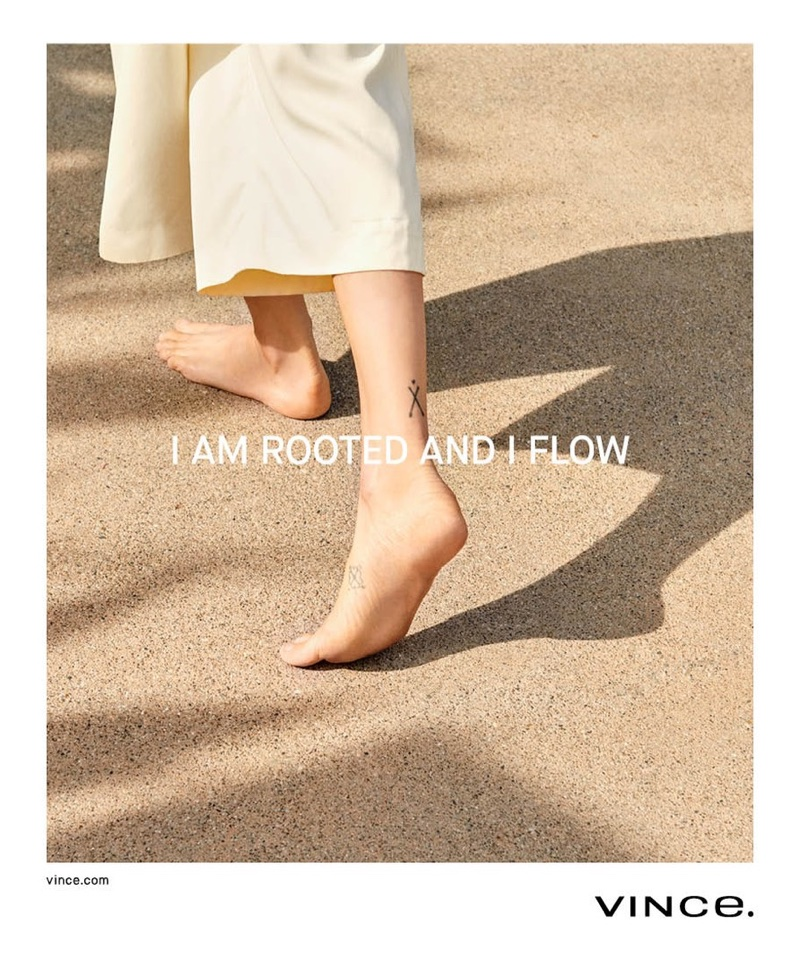 Model poses barefoot in Vince's spring-summer 2018 campaign