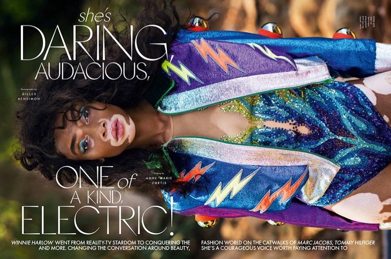 Winnie Harlow Poses in Vibrant Prints for ELLE UK