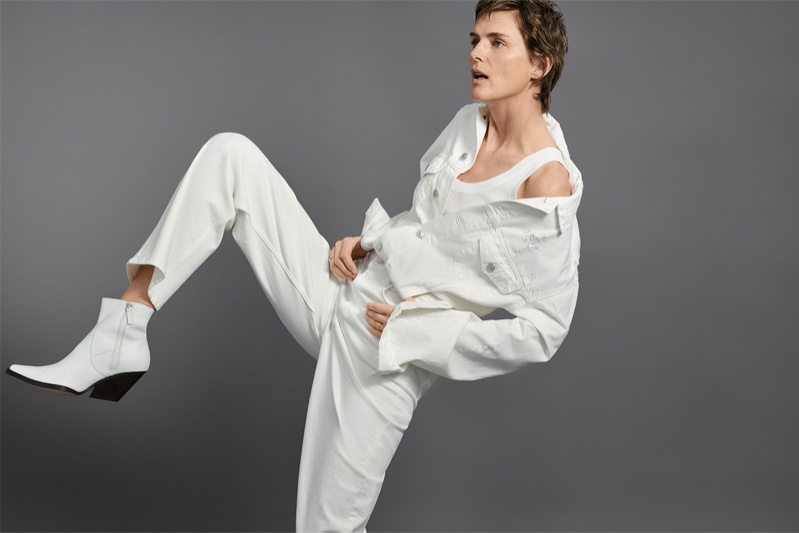 Stella Tennant stars in Zara's spring-summer 2018 Denim lookbook