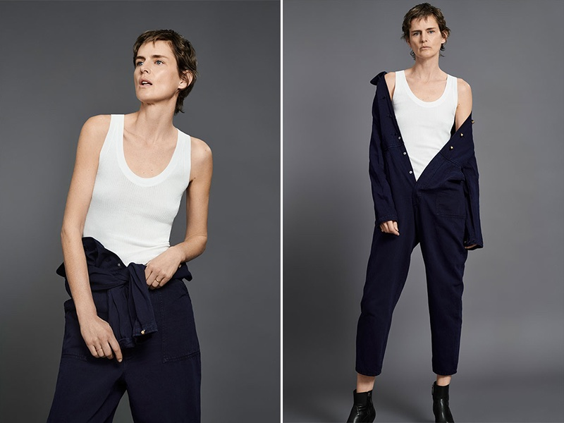 Zara denim jumpsuit with sleeveless t-shirt
