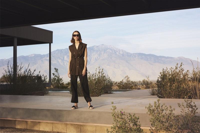 Birgit Kos models Zara vest, trousers and floral slides