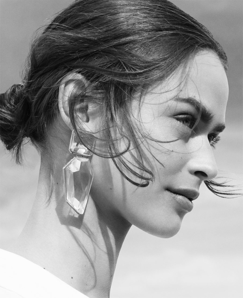 Birgit Kos models Zara transparent stone earrings