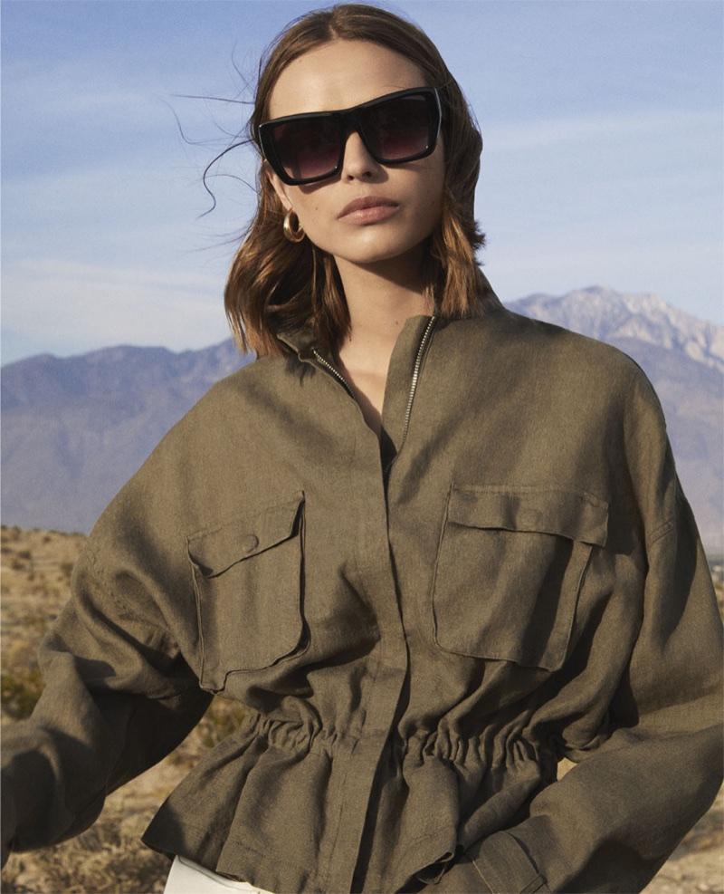 Zara square sunglasses and khaki jacket