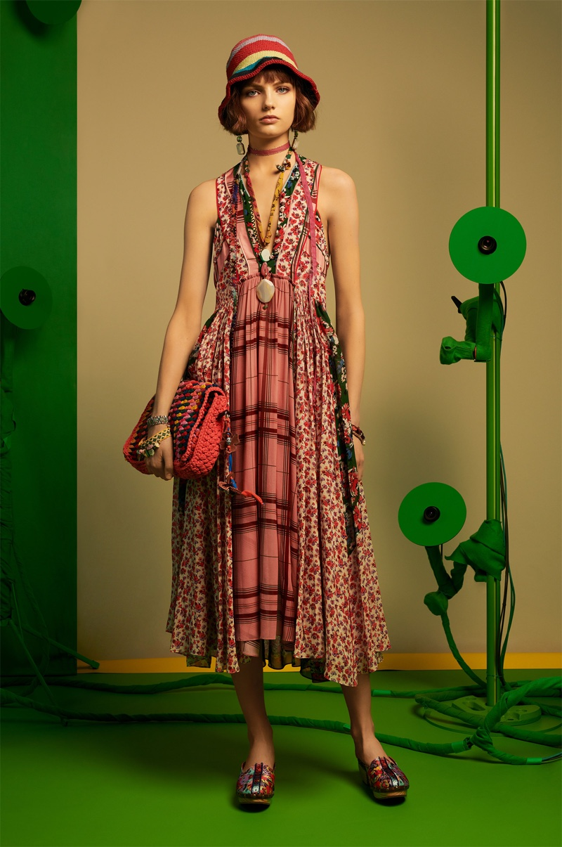 Fran Summers models Zara dress with contrasting patchwork, printed clogs and crochet crossbody bag