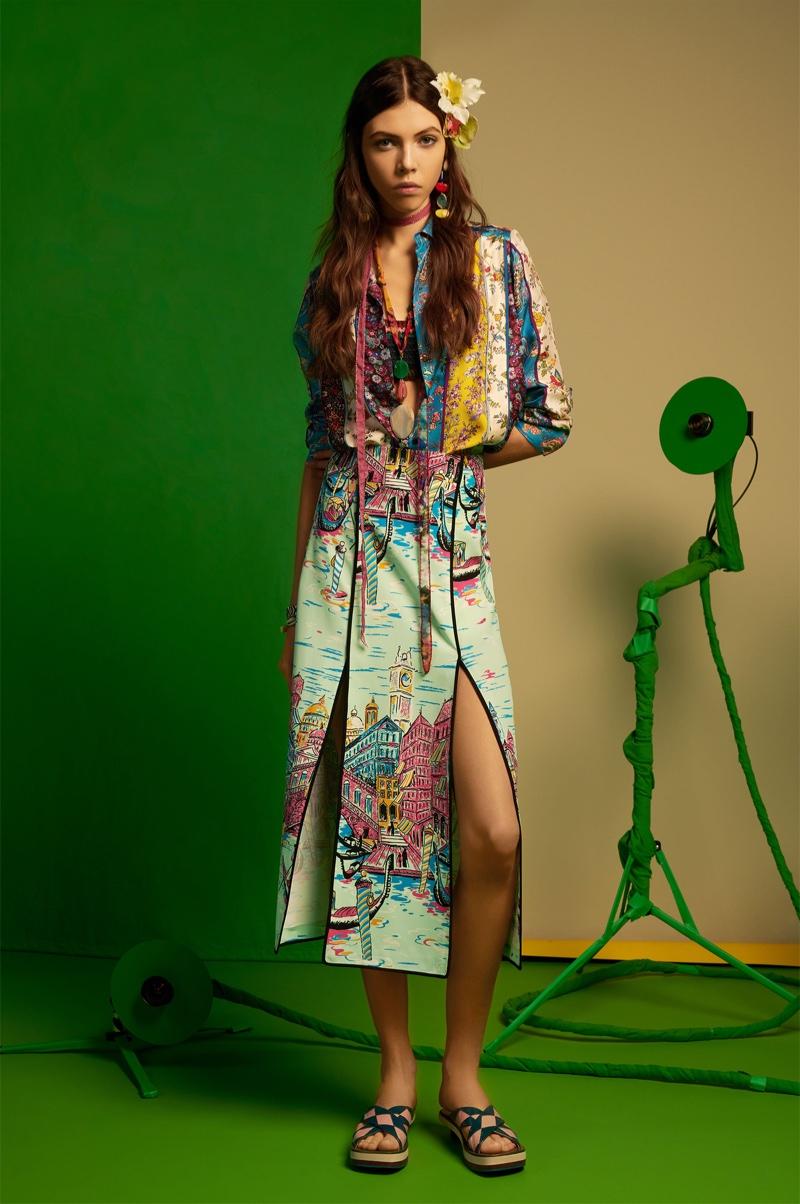 09d8010d ... spring-summer 2018 lookbook. Léa Julian models Zara printed top,  gondola print skirt and leather slides with geometric detail