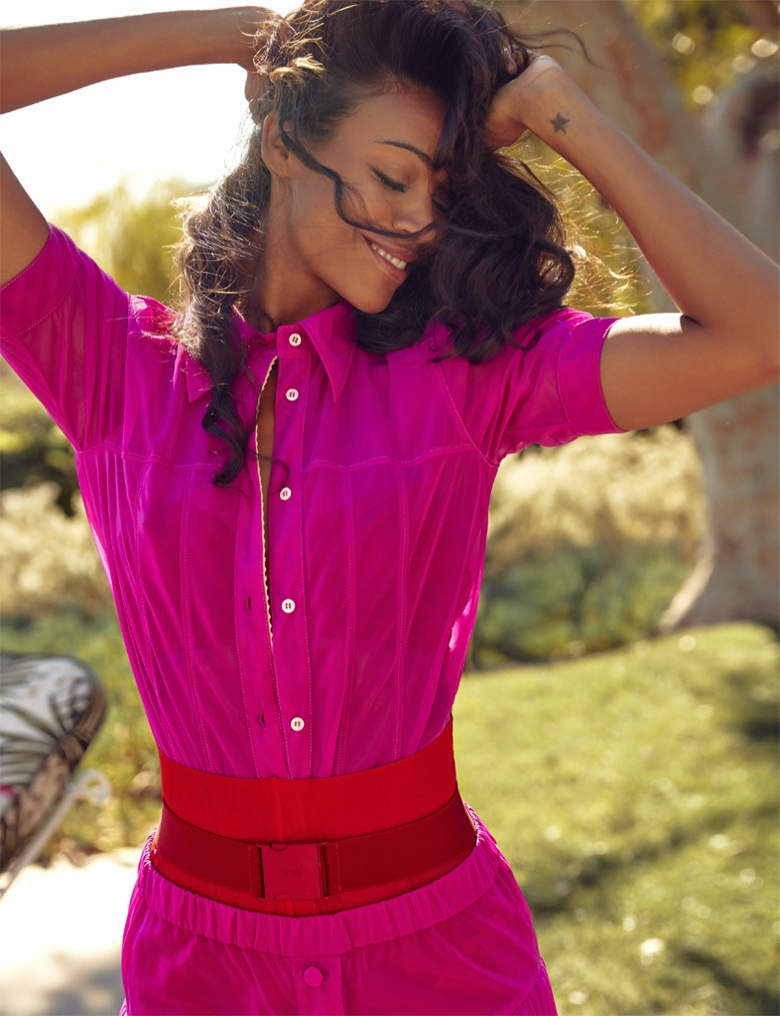 Photographed by Max Abadian, Zoe Saldana looks pretty in pink