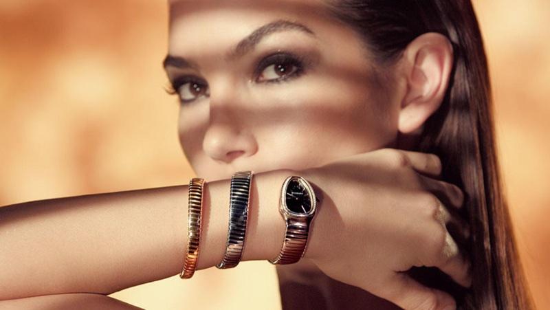 BEHIND THE SCENES: Lily Aldridge on set for Bulgari Serpenti advertisement