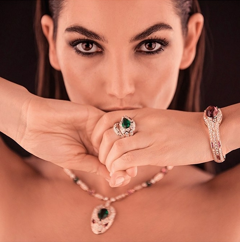 BEHIND THE SCENES: Lily Aldridge shines on set for Bulgari Serpenti advertisement