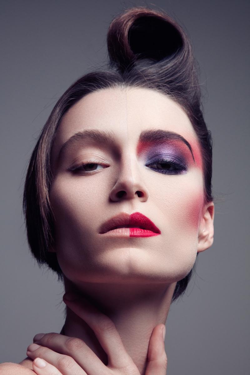 Jeff Tse photographs Alex Boldea in a bold makeup look.