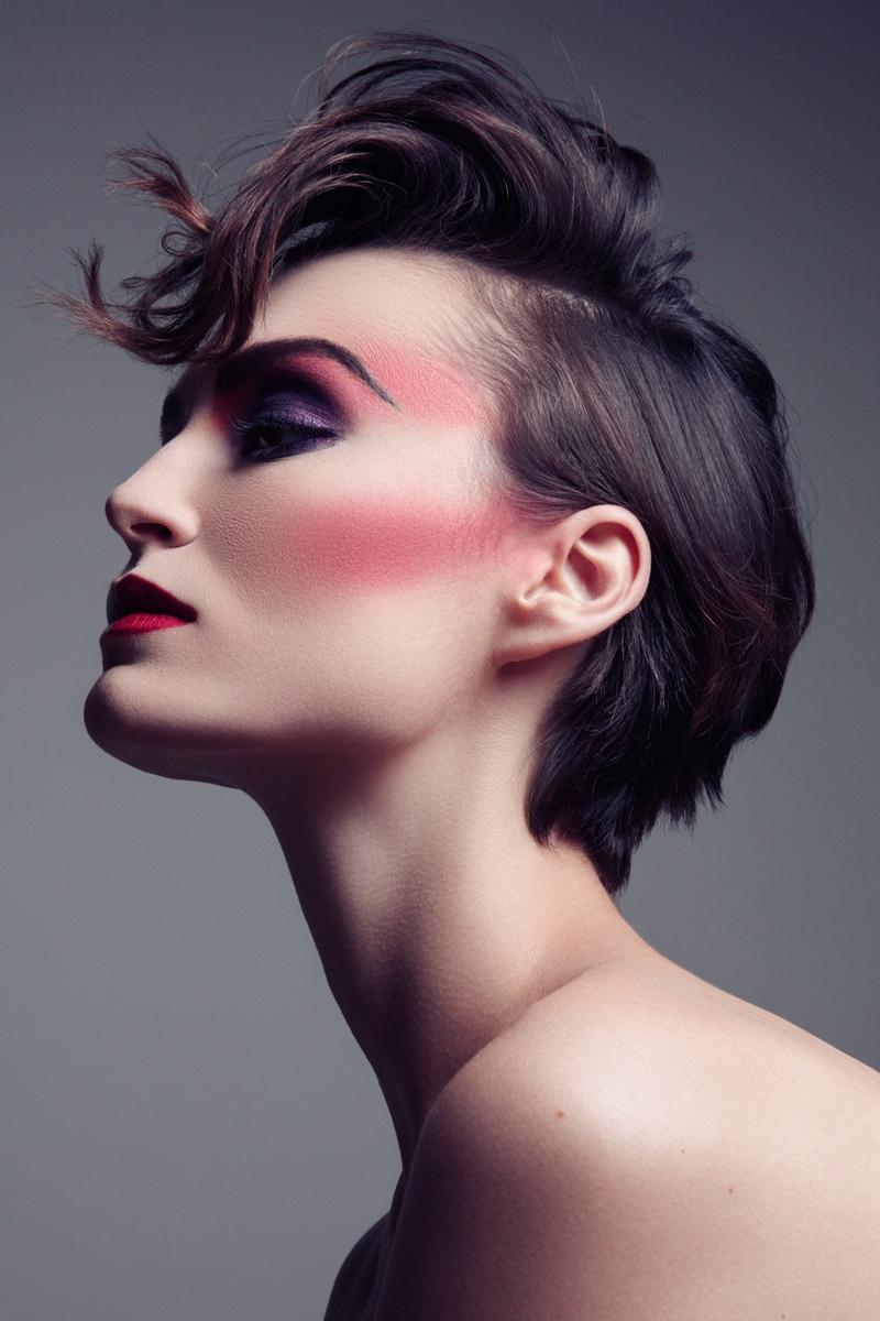 Model Alex Boldea shows off a rouged cheek. Photo: Jeff Tse