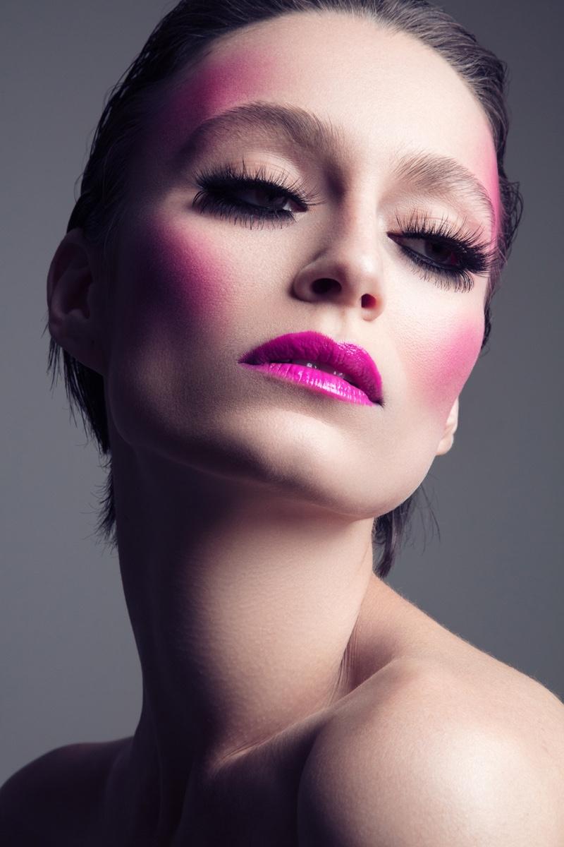 Model Alex Boldea wears vibrant pink cheeks and lip color. Photo: Jeff Tse