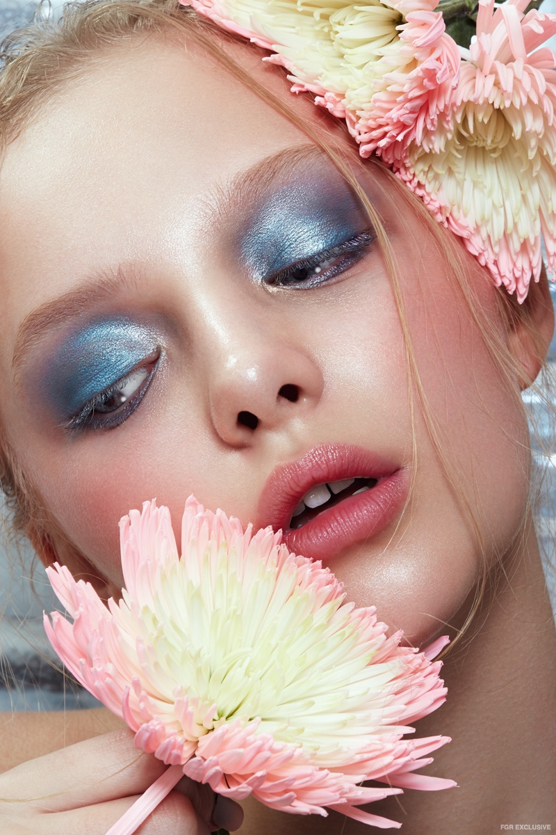 Amiah Miller dazzles in blue eyeshadow photographed by Wendy Hope