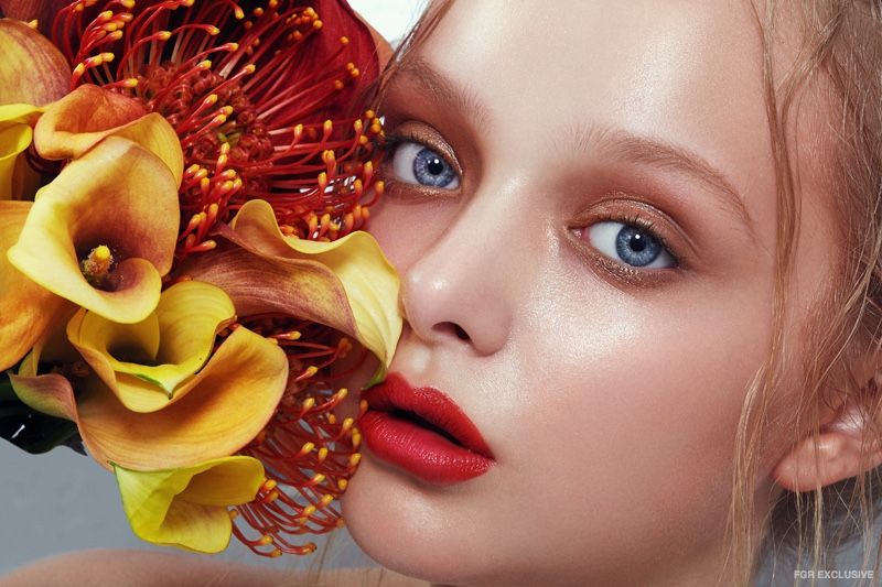 Amiah Miller poses in floral beauty shoot. Photo: Wendy Hope