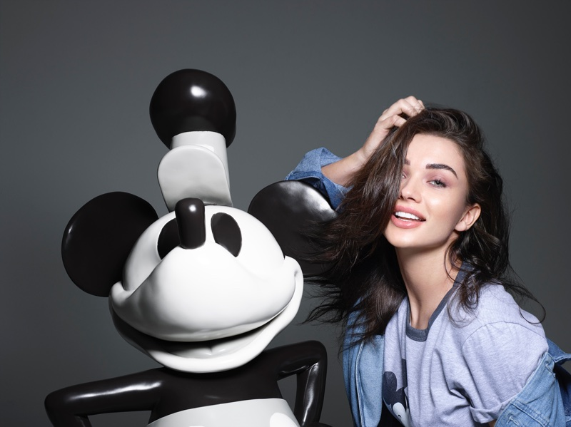 Amy Jackson poses with the original Mickey Mouse for Mickey Mouse & Me book. Photo: Rankin