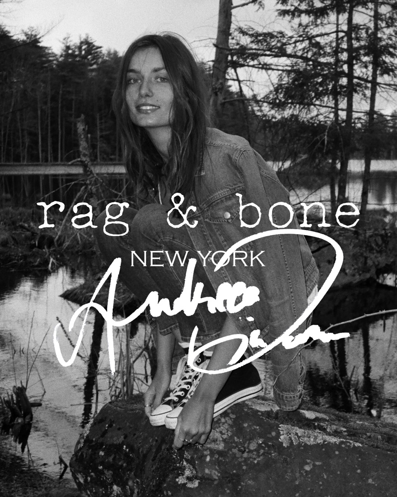 Photographed in black and white, Andreea Diaconu fronts Rag & Bone's DIY Project