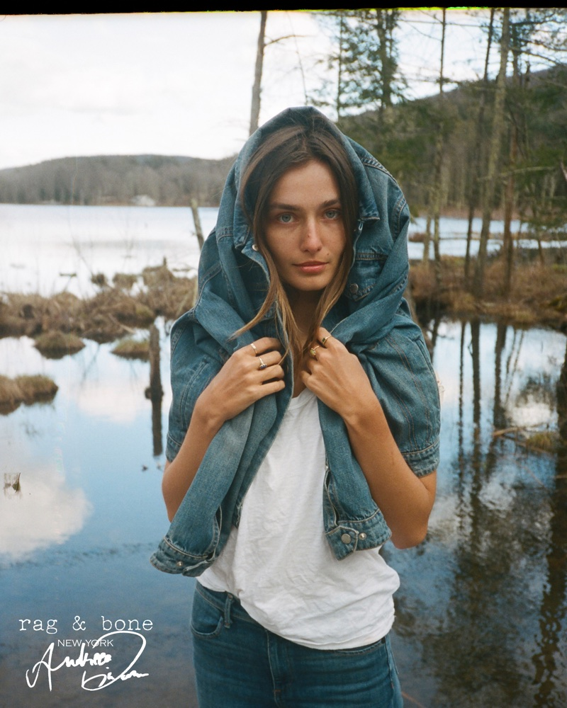 Model Andreea Diaconu sports denim in Rag & Bone's 2018 DIY Project