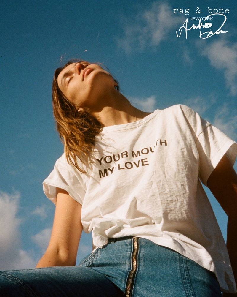 Keeping it casual, Andreea Diaconu appears in Rag & Bone's DIY Project