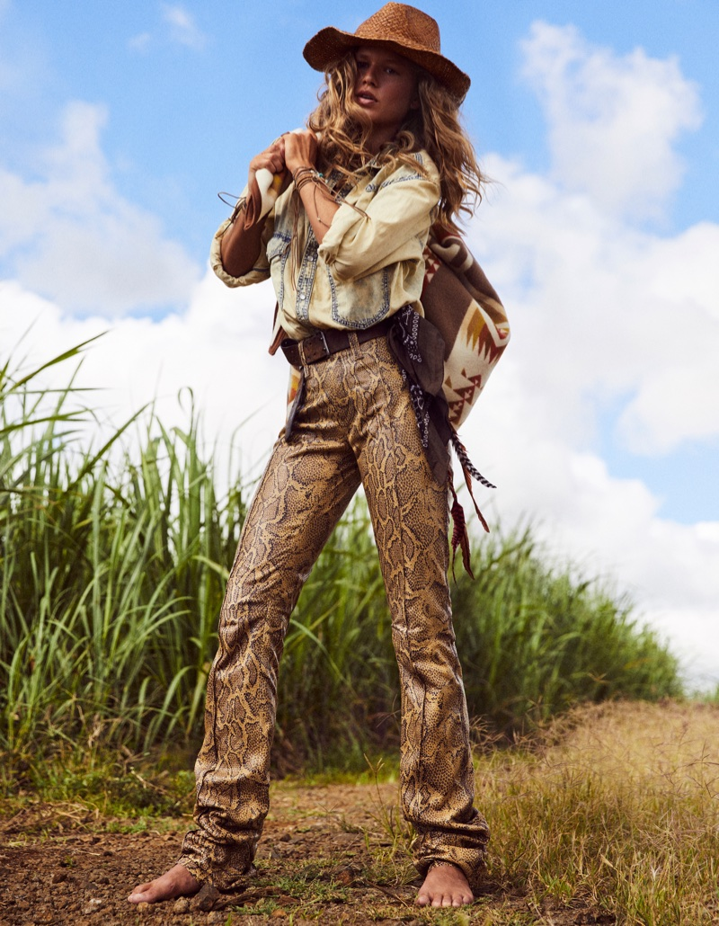 Anna Ewers is Cowgirl Cool in Western Styles for Vogue Paris