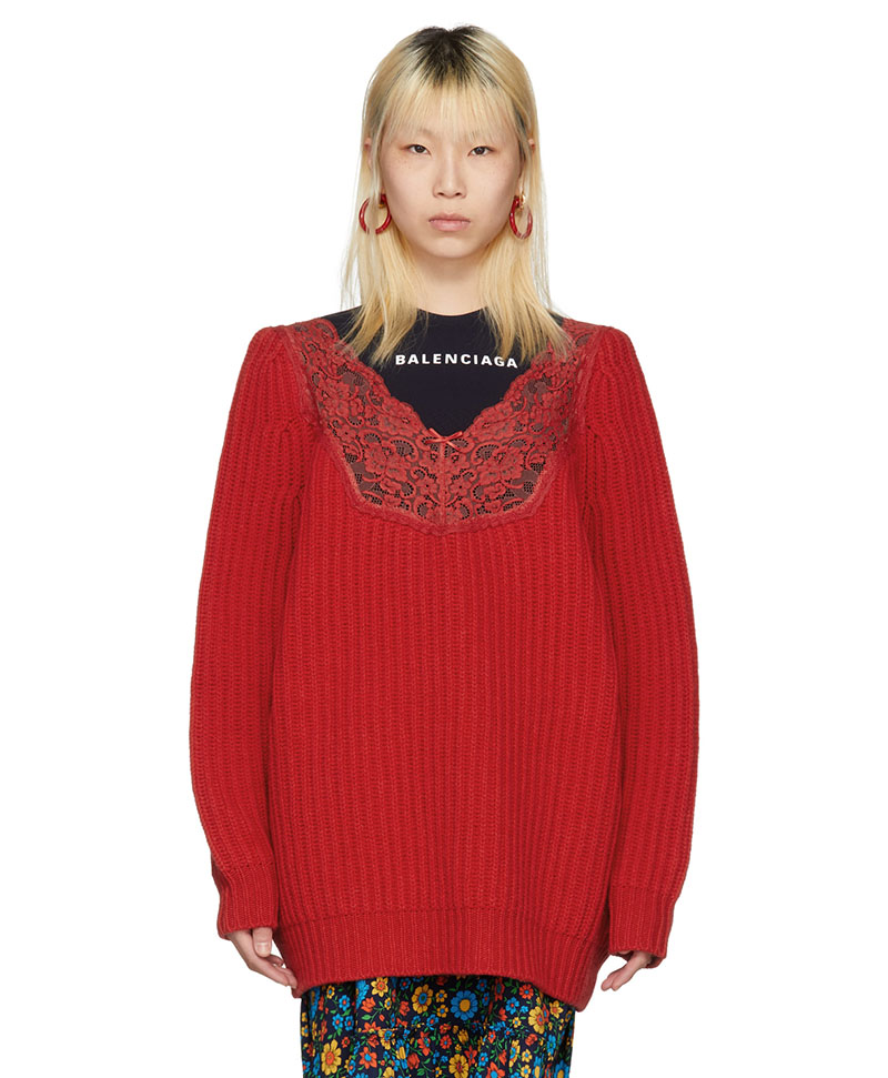 Balenciaga Red Lace Trimmed V-Neck Sweater $783 (previously $1450)