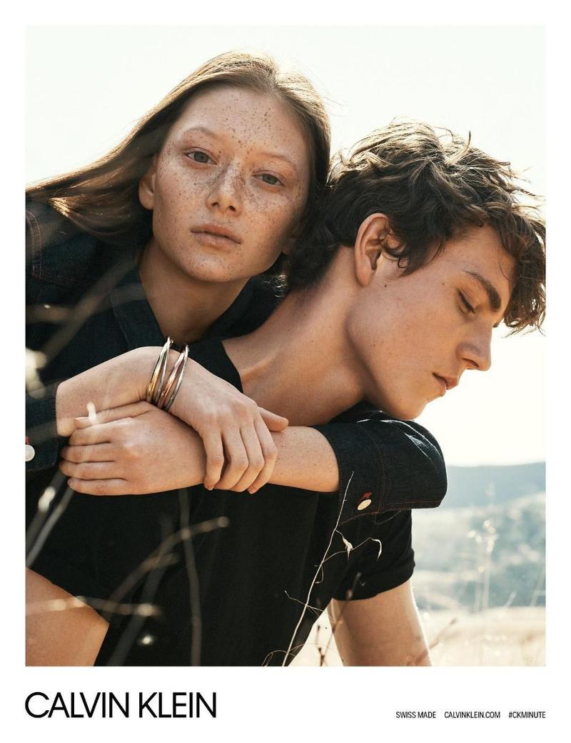 Sara Grace Wallerstedt and Alec Pollentier front Calvin Klein Watches spring-summer 2018 campaign