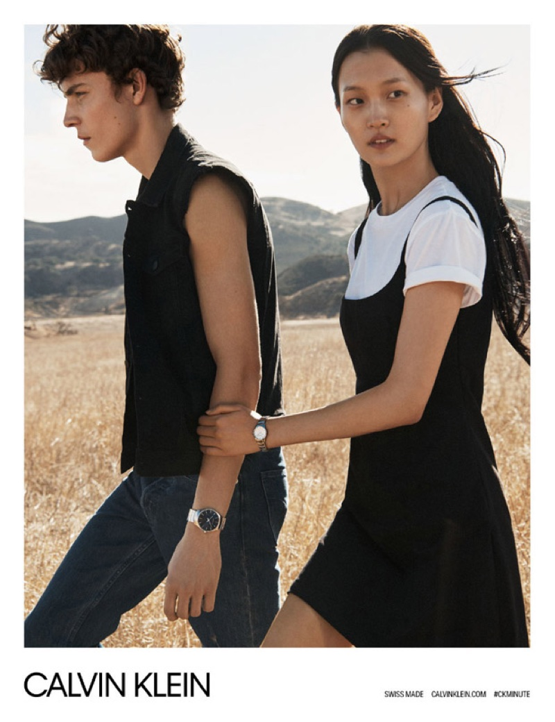 Alec Pollentier and Wangy pose for Calvin Klein Watches spring-summer 2018 campaign