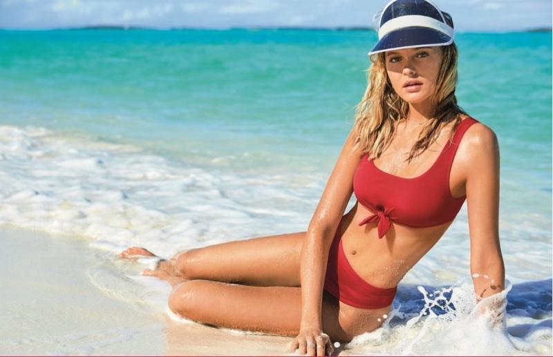 Paige Reiffler wears a red bikini in Calzedonia Swimwear's summer 2018 campaign