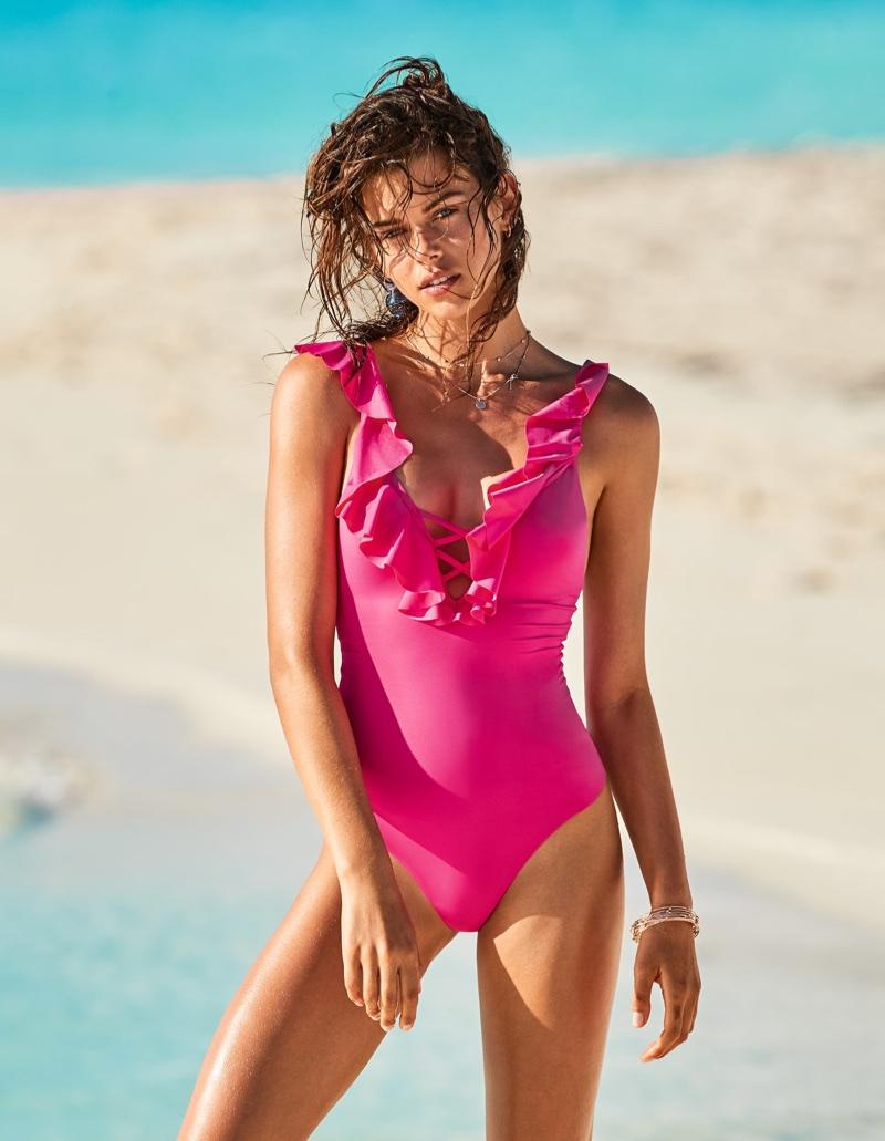 Georgia Fowler looks pretty in pink for Calzedonia Swimwear's summer 2018 campaign